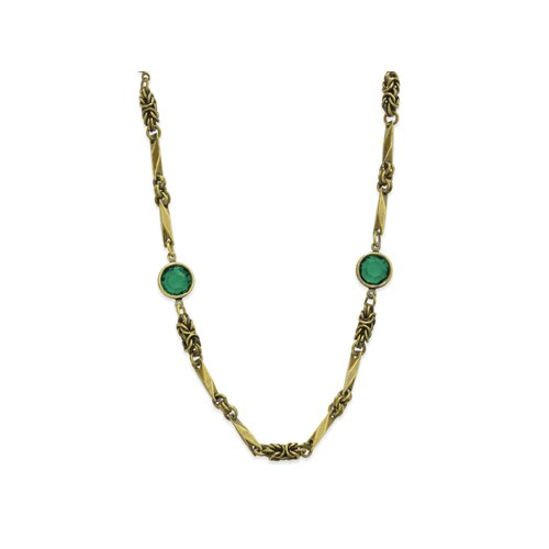 Brass-tone Emerald Crystal 36 Inch Necklace