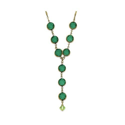 Brass-tone Emerald Green Crystal Y 16 Inch Necklace