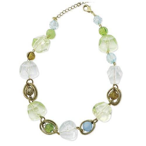 Brass-tone Green Aqua Crystal Beaded 16 Inch Necklace