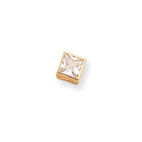 Gold-plated Bezel Princess Cut CZ Necklace - 18 Inch