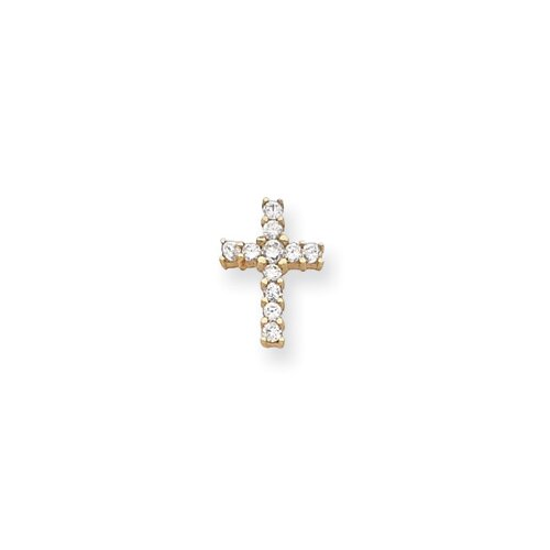 Gold-plated CZ Cross Necklace - 18 Inch