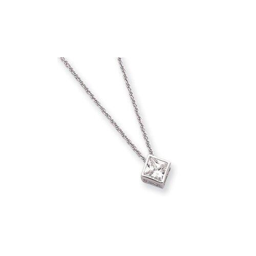 Rhodium-plated Bezel Princess Cut CZ Necklace - 18 Inch