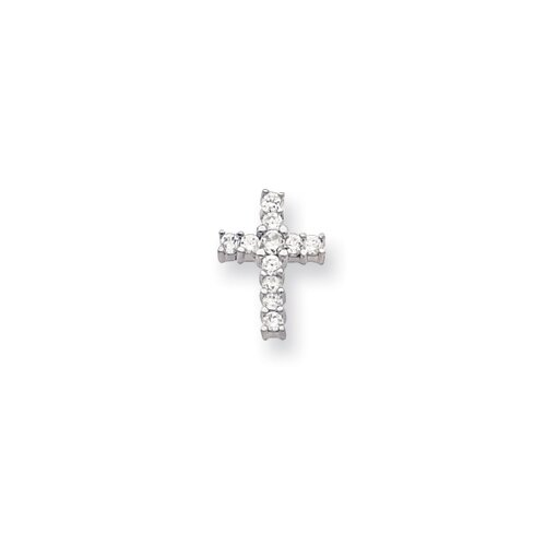 Rhodium-plated CZ Cross Necklace - 18 Inch