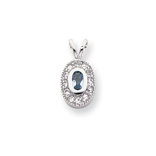 Rhodium-plated March Birthstone Oval CZ Necklace - 18 Inch