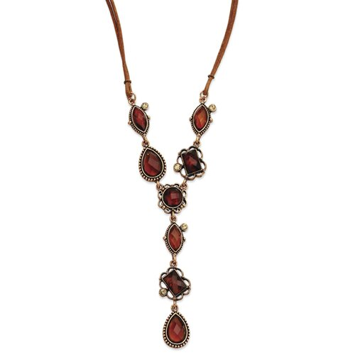 Jewelryweb Rose-tone Light Colorado Sienna Crystal 16 Inch Y Necklace