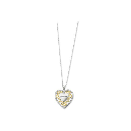 Silver Antiqued Accent gold plating Heart Necklace - 18 Inch