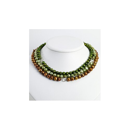 Jewelryweb Silver Golden Green Lt Green Cultured Pearl Necklace - 16 Inch- Lobster Claw