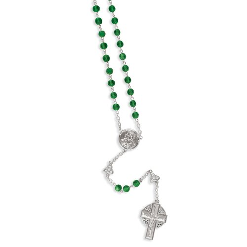 Jewelryweb Silver-tone Celtic Crucifix Rosary Necklace - 28 Inch