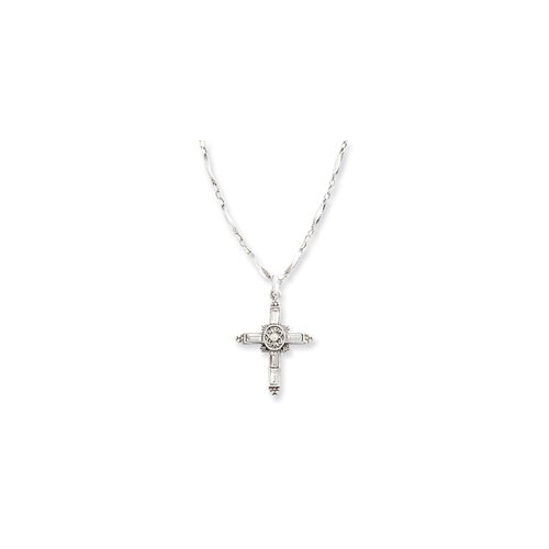 Jewelryweb Silver-tone Crystal Cross Necklace - 18 Inch