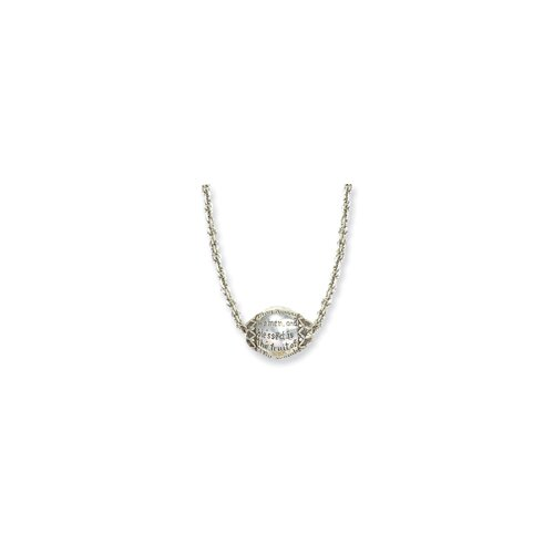 Silver-tone Hail Mary Prayer Necklace - 18 Inch
