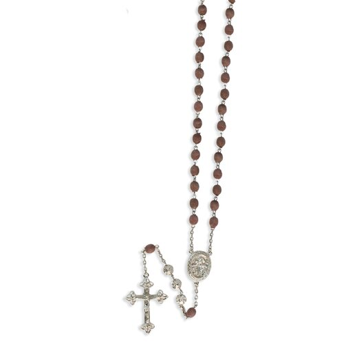Jewelryweb Silver-tone Scented Rose Petal Rosary Necklace - 31 Inch