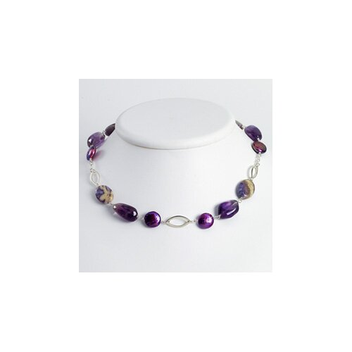 Jewelryweb Amethyst Charoite Purple Cultured Pearl Necklace - 19 Inch- Lobster Claw