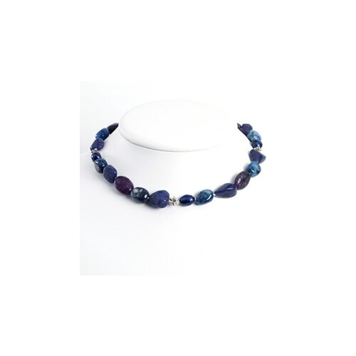 Jewelryweb Charoite Sodalite Lapis Blue Cultured Pearl Necklace 18 Inch- Lobster Claw
