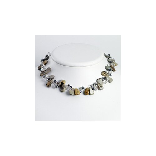 Jewelryweb Grey Cult. Pearl Clear Crystal Agate necklace - 16 Inch- Lobster Claw