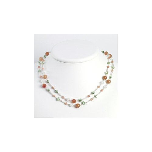 Jasper Crackle Lt Green Cultured Pearl Necklace - 56 Inch