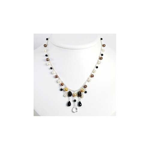 Onyx S. Quartz Brwn Golden Wht Cultured Pearl Necklace 16 In - Lobster Claw