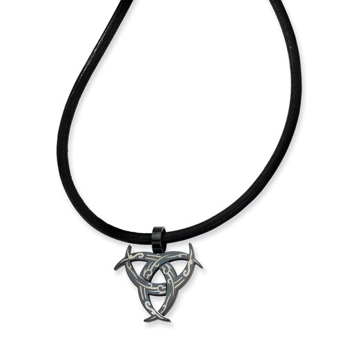 Jewelryweb Stainless Steel Etched Black Color IP-plated Necklace 18 In