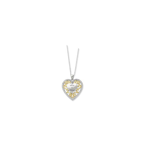 Jewelryweb Ster. Silver Accent gold plating CZ Heart Necklace - 18 Inch