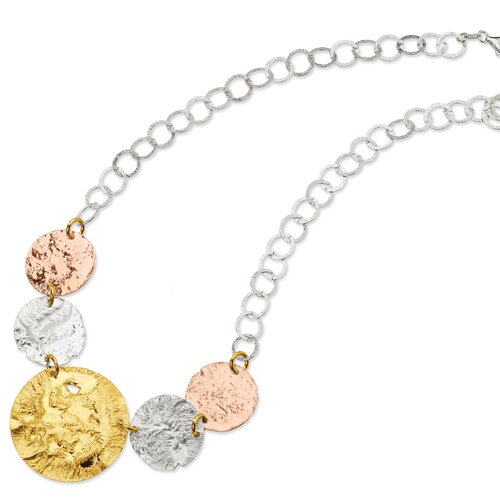 Jewelryweb Sterling Silver 18K Yellow Rose Gold-plated Fancy Necklace