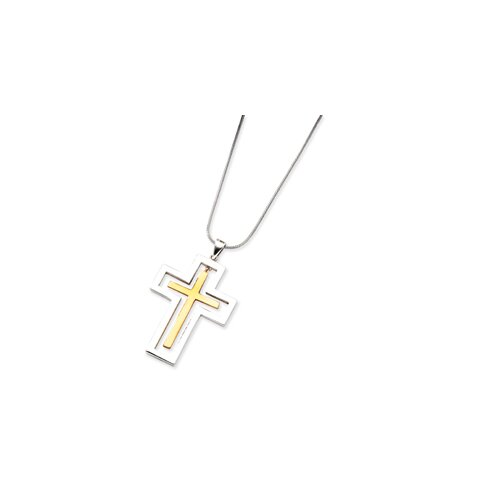 Jewelryweb Sterling Silver and 14K Cross Necklace - 18 Inch