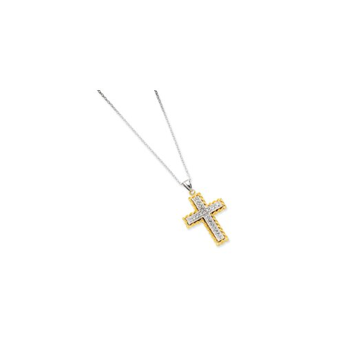Sterling Silver and 14K Diamond-Cut Cross Necklace - 18 Inch