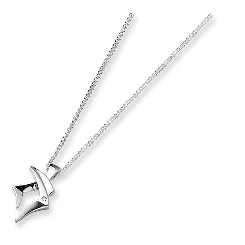 Jewelryweb Sterling Silver and Diamond PendantNecklace
