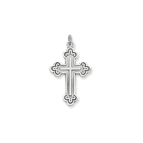 Jewelryweb Sterling Silver Antiqued Budded Cross Pendant