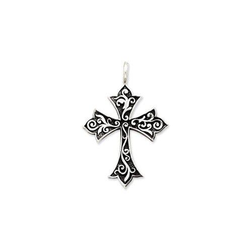 Jewelryweb Sterling Silver Antiqued Cross Pendant