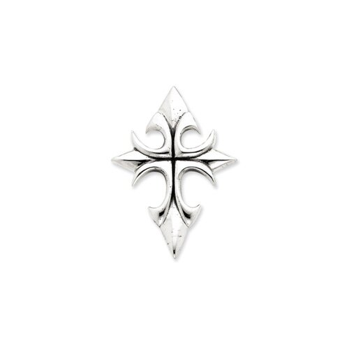 Jewelryweb Sterling Silver Antiqued Cross Pendant