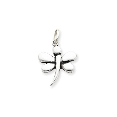 Jewelryweb Sterling Silver Antiqued Dragonfly Pendant