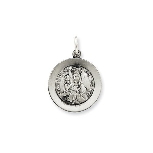 Jewelryweb Sterling Silver Antiqued Saint Anne de Beaupre Medal Pendant