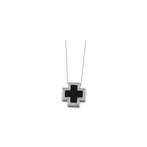 Jewelryweb Sterling Silver Black Onyx CZ Cross Necklace - 18 Inch