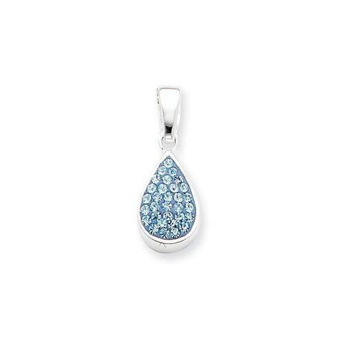 Jewelryweb Sterling Silver Blue CZ Teardrop Pendant