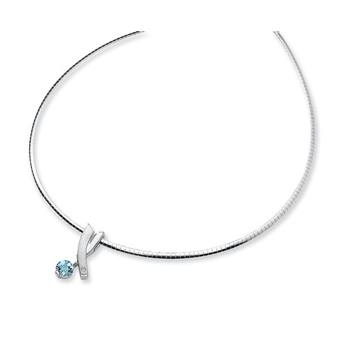 Sterling Silver Blue Topaz and Diamond Slide Necklace