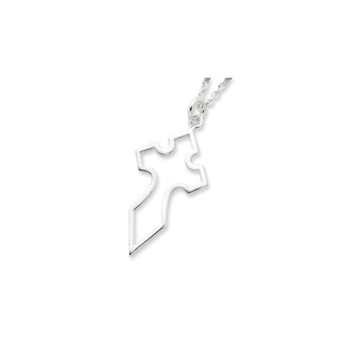 Sterling Silver Cross Necklace - 18 Inch- Lobster Claw