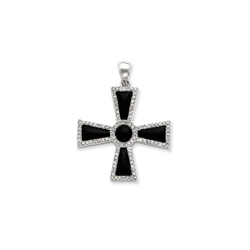 Jewelryweb Sterling Silver CZ and Onyx Cross Pendant