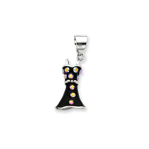 Jewelryweb Sterling Silver CZ Black Enamel Dress Pendant