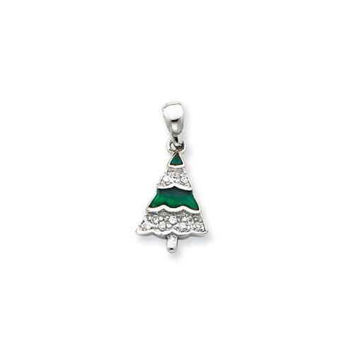 Jewelryweb Sterling Silver CZ Christmas Tree Pendant