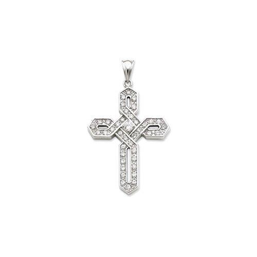 Jewelryweb Sterling Silver CZ Cross Pendant