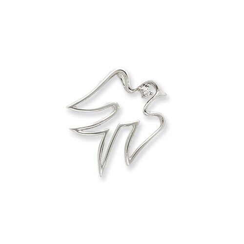 Jewelryweb Sterling Silver CZ Dove Pendant