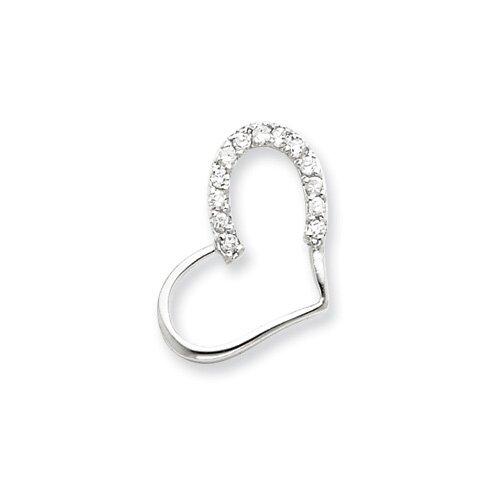 Jewelryweb Sterling Silver CZ Heart Pendant