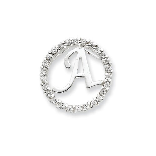 Jewelryweb Sterling Silver CZ Initial A Pendant