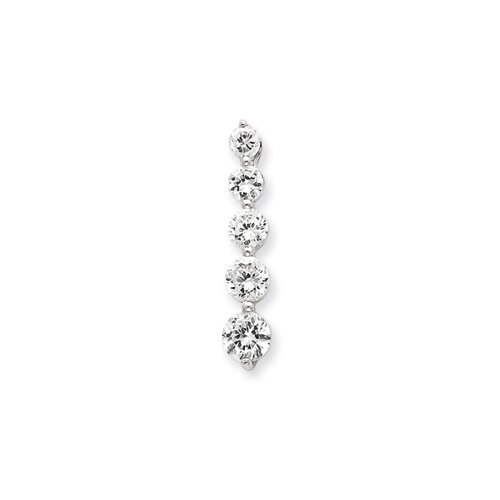 Jewelryweb Sterling Silver CZ Journey Pendant