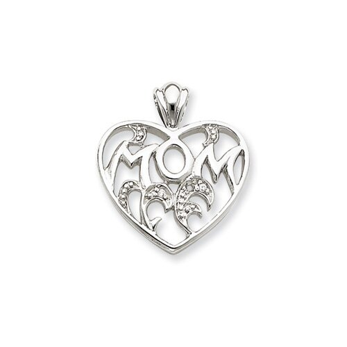 Jewelryweb Sterling Silver CZ Mom Heart Pendant