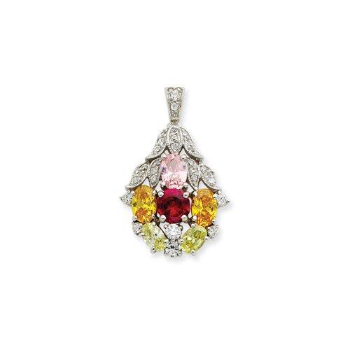 Jewelryweb Sterling Silver CZ Pendant