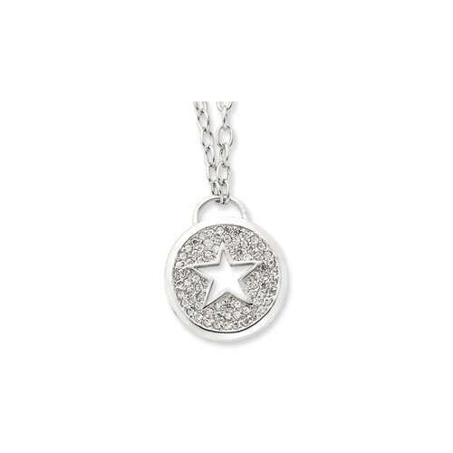 Jewelryweb Sterling Silver CZ Star Necklace - 16 Inch- Lobster Claw