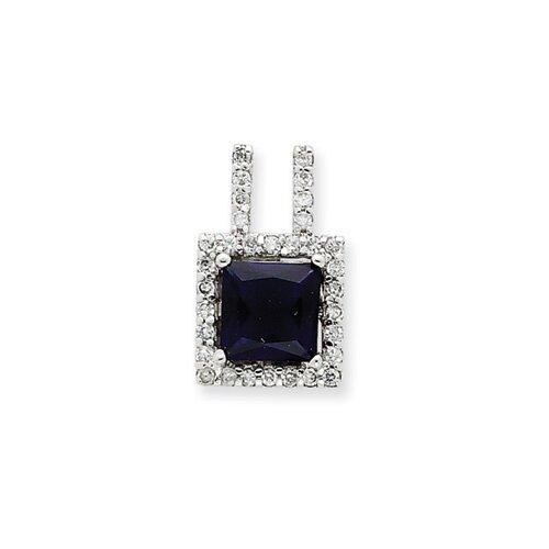Jewelryweb Sterling Silver Dark Blue CZ Pendant
