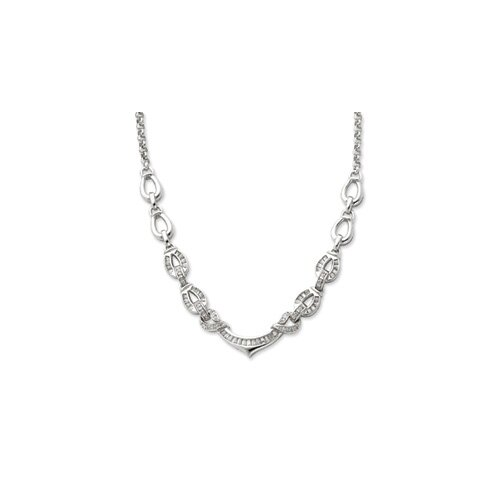 Jewelryweb Sterling Silver Fancy CZ Necklace - 16 Inch- Lobster Claw