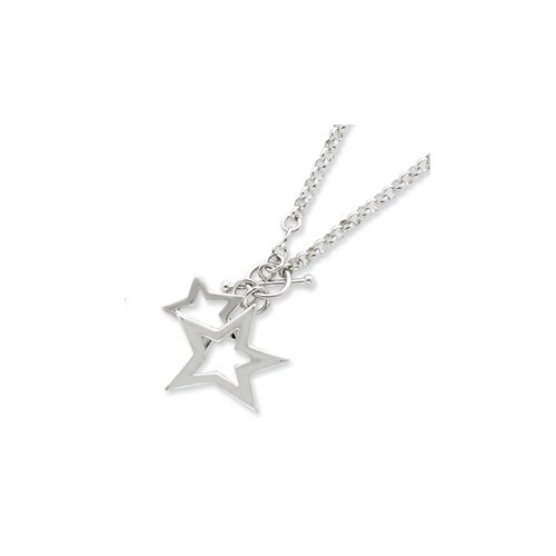 Jewelryweb Sterling Silver Fancy Stars Necklace - 16 Inch- Toggle