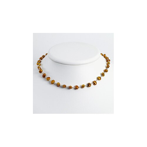 Sterling Silver Golden Brown Cultured Pearl Necklace - 18 Inch- Lobster Claw